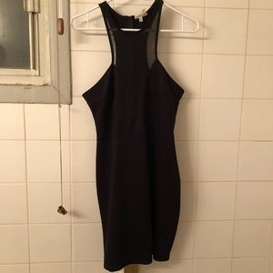Bodycon Black Dress with Sheer high neck